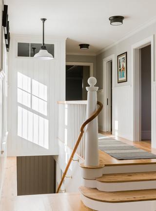 现代欧式风格300平别墅大方简洁客厅复式楼楼梯效果图