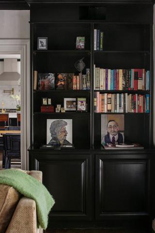 现代简约风格厨房酒店公寓温馨卧室电脑桌书架效果图
