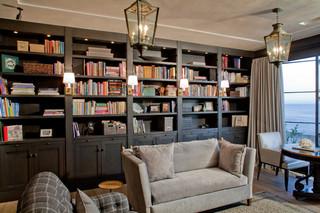 欧式风格三层独栋别墅浪漫婚房布置转角书桌书柜效果图
