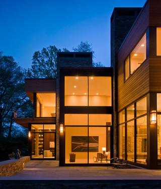 现代简约风格卧室3层别墅浪漫卧室客厅窗户效果图