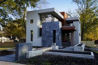 现代简约风格客厅三层别墅及大气室内窗户效果图