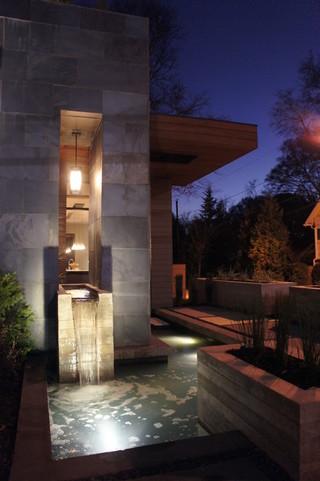 现代简约风格厨房三层平顶别墅大气鱼缸玄关效果图