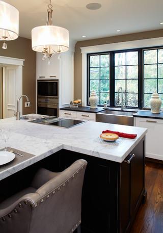 现代简约风格卧室一层半小别墅另类卧室开放式厨房餐厅效果图