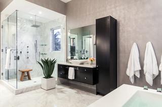 现代简约风格卧室单身公寓厨房唯美整体淋浴房图片