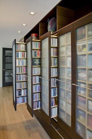 现代简约风格卧室一层半别墅简单温馨书架效果图