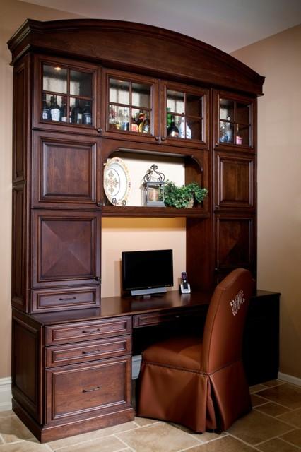 新古典风格低调奢华2013整体厨房电脑桌书架效果图