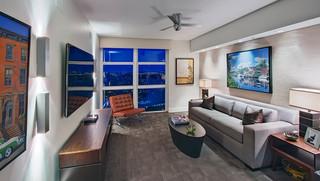现代简约风格客厅三层别墅奢华家具三人沙发图片