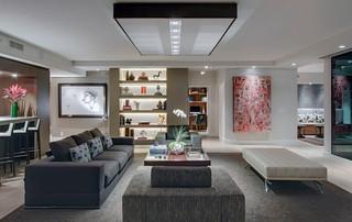 现代简约风格餐厅3层别墅奢华三人沙发图片