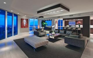 现代简约风格厨房3层别墅奢华三人沙发效果图