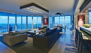 现代简约风格餐厅三层小别墅奢华家具三人沙发图片