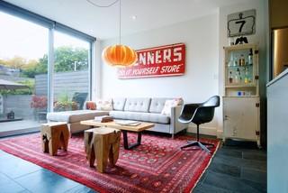 现代简约风格客厅三层独栋别墅艺术家具转角沙发效果图
