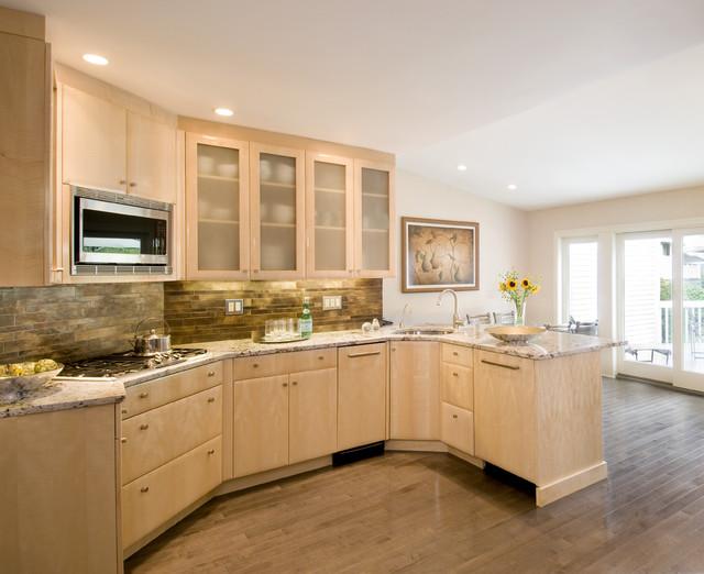 欧式风格家具大户型暖色调半开放式厨房设计图纸