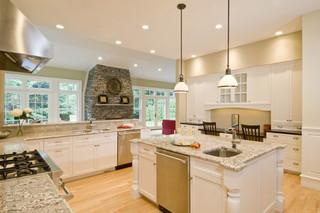 欧式风格客厅大户型暖色调开放式厨房吧台效果图