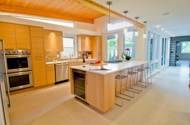 美式风格客厅三层独栋别墅时尚简约半开放式厨房装修