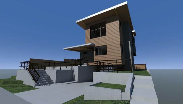 美式风格卧室三层平顶别墅装潢高清图片