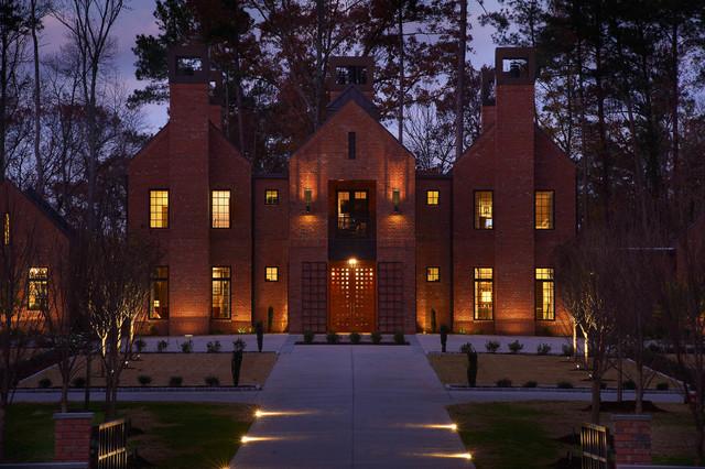 美式风格客厅三层连体别墅奢华花园洋房装潢