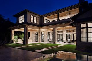 美式风格客厅一层半小别墅大气米色效果图
