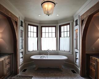 混搭风格客厅三层半别墅浪漫婚房布置独立式浴缸效果图