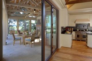 现代田园风格2层别墅浪漫婚房布置厨房推拉门装修效果图