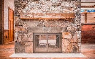 现代简约风格卫生间2层别墅现代简洁砖砌真火壁炉设计图图片