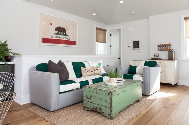 现代美式风格一层半小别墅小清新客厅沙发设计图纸