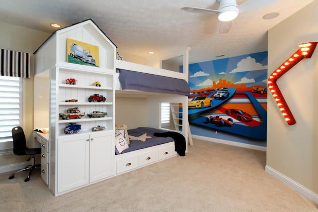 现代美式风格老年公寓可爱白色卧室效果图