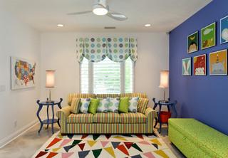 宜家风格酒店式公寓可爱房间条纹乌木家具效果图