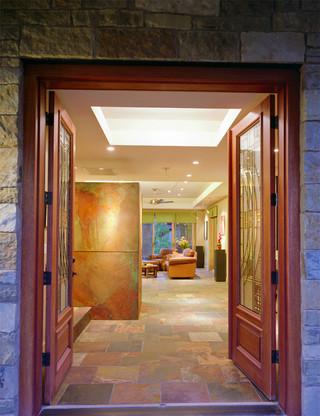 现代美式风格三层别墅唯美门厅过道吊顶装修