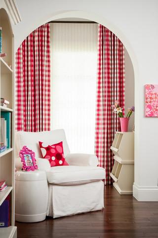 宜家风格客厅一层半别墅可爱卧室红色橱柜效果图