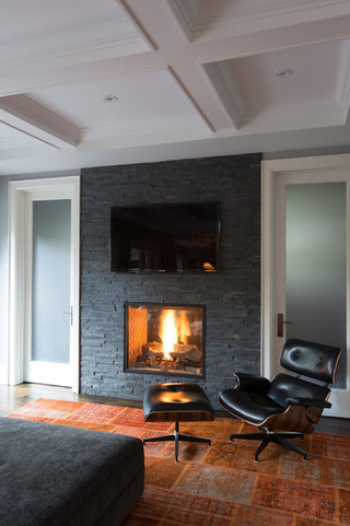 美式风格卧室3层别墅温馨客厅黑白装饰画装修图片