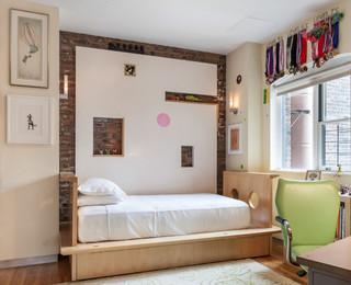 现代美式风格酒店公寓可爱房间米色设计图