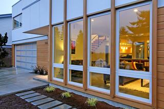 美式风格2层别墅豪华欧式客厅露台花园效果图