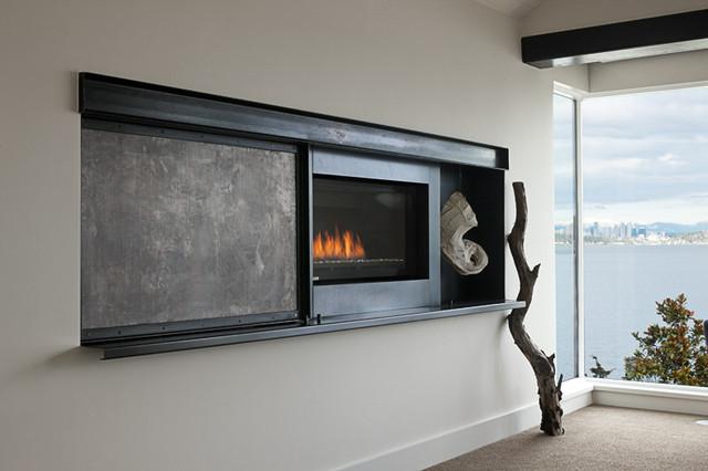 新古典风格卧室一层半别墅艺术家具砖砌真火壁炉设计图图片