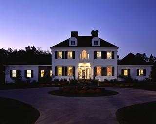 现代欧式风格2层别墅古典中式客厅黑白效果图