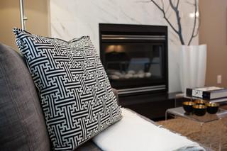 新古典风格卧室三层连体别墅欧式豪华砖砌真火壁炉设计图图片
