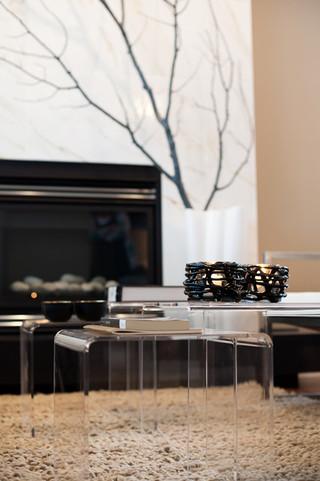 新古典风格一层别墅豪华厨房艺术玻璃背景墙装修效果图