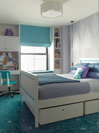 宜家风格老年公寓温馨卧室蓝色厨房效果图