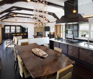 现代欧式风格客厅简洁厨房餐厅一体装修效果图