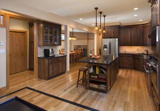 美式风格三层独栋别墅时尚家居开放式厨房装修效果图