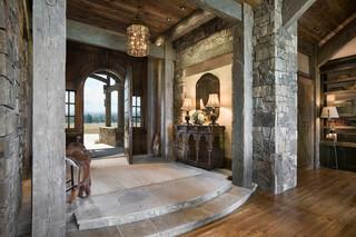 美式风格客厅一层别墅及古典客厅办公室过道装修效果图