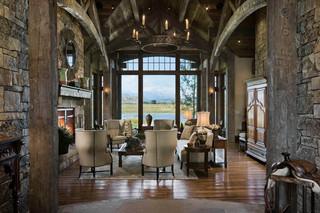 美式风格一层别墅及大方简洁客厅厨房和餐厅效果图