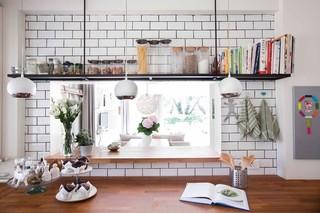 现代欧式风格单身公寓阳台实用飘窗台面效果图