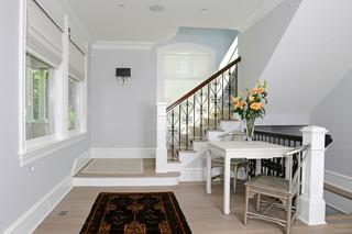 欧式风格客厅三层双拼别墅简洁卧室铁艺楼梯扶手效果图