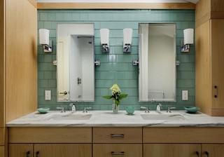 美式乡村风格三层双拼别墅舒适家庭卫生间隔断设计图纸