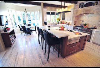 新古典风格客厅三层平顶别墅浪漫卧室厨房餐厅客厅一体装修效果图