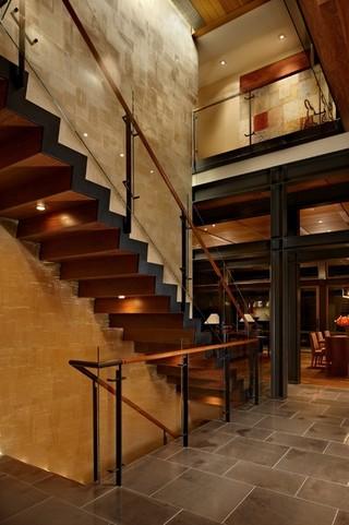 现代简约风格客厅三层平顶别墅民族风原木色家居设计图
