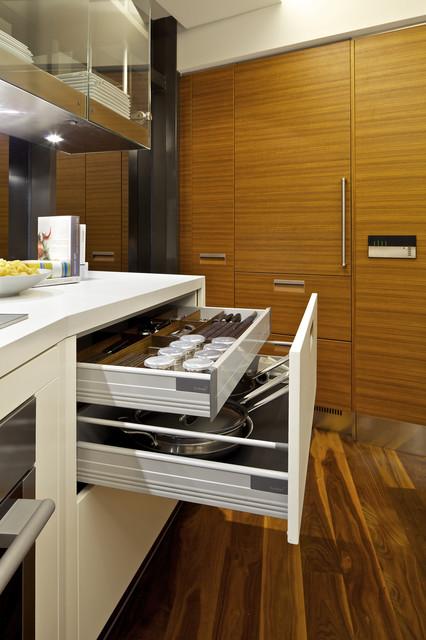 现代简约风格厨房三层连体别墅原木色装修效果图