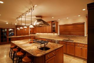 美式乡村风格卧室三层半别墅稳重开放式厨房餐厅效果图