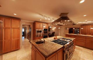 美式乡村风格卧室三层独栋别墅稳重小户型开放式厨房效果图