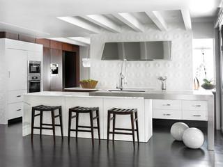 现代简约风格客厅一层别墅及温馨卧室开放式厨房餐厅效果图